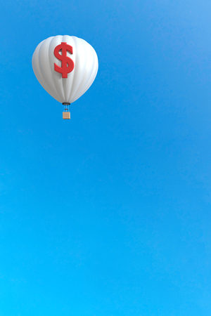 3d rendering : illustration of colorful hot air  balloon floating above the sky in sunny day. vacation time concept. abstract peaceful background. dollar sign on balloon surface. money business concept Stockfoto