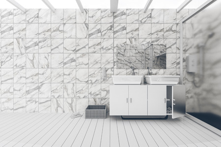 furniture design: 3D Rendering : illustration of White toilet and bathroom with marble tile wall and black marble floor. white ceramic bowl on shelf. modern design black and white toilet. light shining from outside