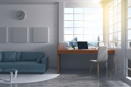 3D Rendering : illustration of modern interior Creative designer office desktop with computer. pc laptops mock up working place of graphic design at house. light from outside. brick wall background Stockfoto