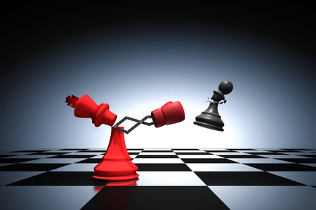 3D rendering : illustration of king chess knocking out a pawn chess. King punching and destroying the pawn with red boxing glove on chess board. knock to win with secret weapon business concept.