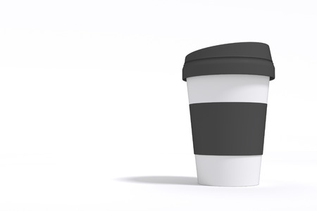 3D rendering : illustration of take away white and black hot coffee cup. Isolated On White Background. Mock Up Template Ready For Your Design. Stockfoto