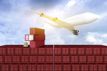 3D rendering : illustration of Wide view of Container terminal with blue sky and Commercial airplane flying above blue sky and clouds. Warehouse & shipping. logistic concept. filtered image Stock Photo