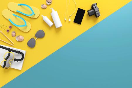 Representación 3D: ilustración de la vista superior del equipo del verano en vacaciones. accesorios de vacaciones de verano compuestas sobre fondo de color pastel. concepto de verano. Colores pastel de moda Foto de archivo - 86023852
