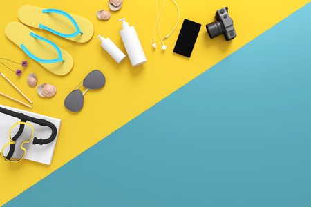 3D rendering : illustration of Top view of  equipment of summer on vacations. summer holidays accessories composed on pastel color background. summer concept. Trendy pastel colors.