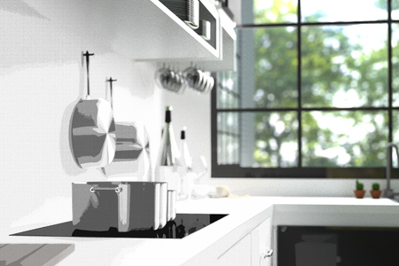 3D Rendering : illustration of modern interior kitchen room.kitchen part of house. Mock up. green natural and light from outside. sketch drawing gradated photo combination Stock Photo