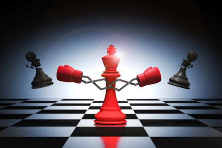 3D rendering : illustration of king chess knocking out a pawn chess. King punching and destroying the pawn with red boxing glove on chess board. knock to win with weapon business concept. Stockfoto
