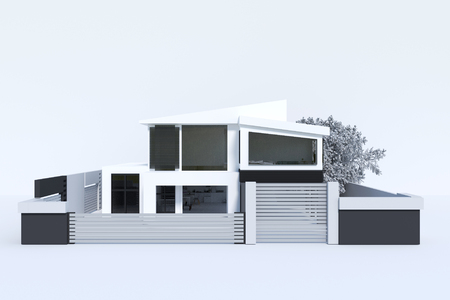 garage on house: 3d rendering : illustration of house or home building isolated on white background. perspective of modern house or modern home. searching your new home concept
