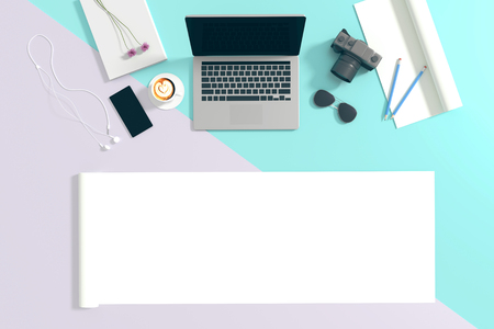 old telephone: 3d : illustration of top view of laptop on pastel color background and accessories of teenage. sunglasses. a cup of coffee. camera and smartphone. rolled paper copyspace for adding your text