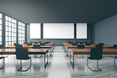 3D rendering : illustration of new modern style conference room interior design with blank whiteboard and city view. room Mock up. frame mock up hanging in meeting room. clipping path included