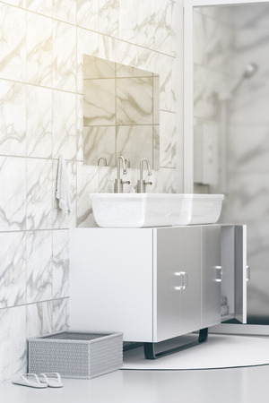 3D Rendering : illustration of White toilet and bathroom with marble tile wall and black marble floor. white ceramic bowl on shelf. modern design black and white toilet. light shining from outside