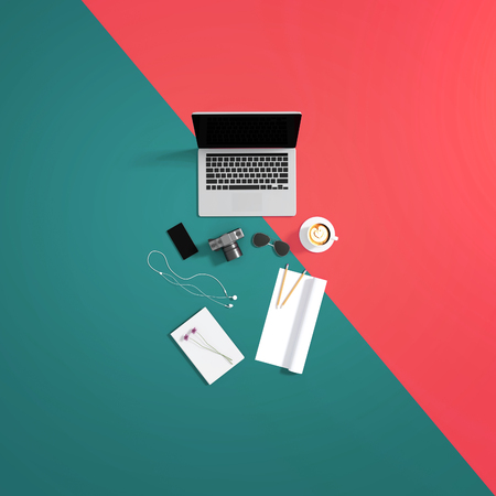 hand touch: 3d : illustration of top view of laptop on pastel color background and accessories of teenage. sunglasses. a cup of coffee. camera and smartphone. rolled paper copyspace for adding your text