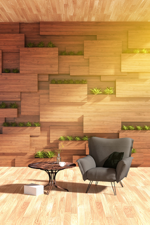 3D rendering : illustration of arm chair or sofa against wooden wall with plant. modern interior design . wooden blocks wall and vertical garden. inside or outside design of modern house or condo