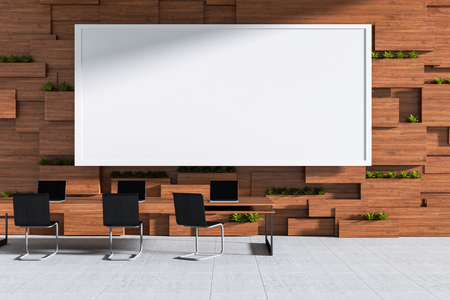 3D rendering : illustration of new modern style conference room interior design with blank whiteboard in wooden blocks wall room. frame mock up hanging in meeting room. clipping path included