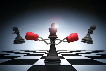 3D rendering : illustration of king chess knocking out a pawn chess. King punching and destroying the pawn with red boxing glove on chess board. knock to win with weapon business concept. Stock Photo