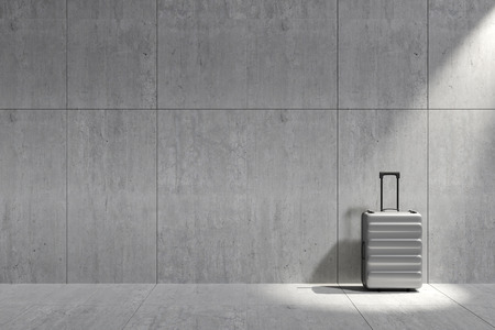 3D Rendering : illustration of traveler gadget equipment Suitcase concrete cement floor and wall background. spotlight shining to suitcase or luggage. copyspace for added your text
