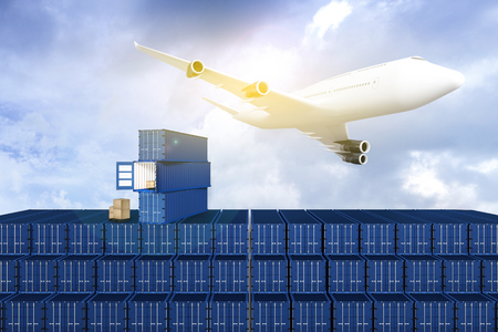 moving truck: 3D rendering : illustration of Wide view of Container terminal with blue sky and Commercial airplane flying above blue sky and clouds. Warehouse & shipping. logistic concept. filtered image Stock Photo