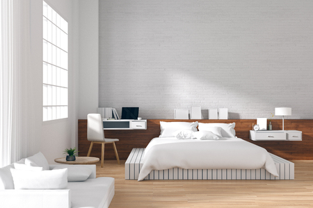 3D Rendering : illustration of cozy modern interior bedroom in soft light colors. big comfortable double bed in elegant classic bedroom. laptop on desk . white brick wall and light from window