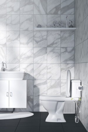 3D Rendering : illustration of White toilet and bathroom with marble tile wall and black marble floor. white ceramic bowl on shlef. modern design black and white toilet. light shining from outside