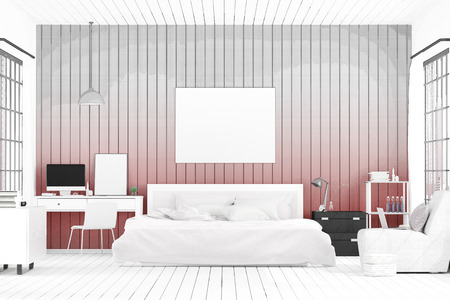 3D rendering : illustration of spacious bedroom. big comfortable double bed in elegant classic modern bedroom. interior design of house. sketch drawing gradated photo combination Stockfoto