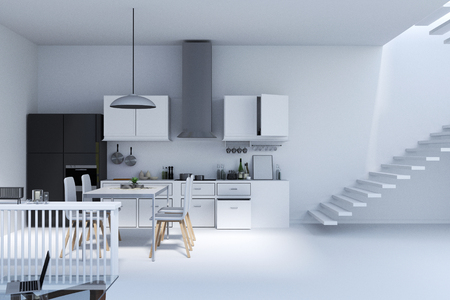 shiny black: 3d rendering : illustration of Kitchen in House. Kitchen Interior in white modern furniture style. black shiny Refrigerator, Pendant Lights, and white Floors. happy home design concept.