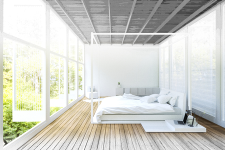 3d Rendering : illustration of Double divan bed modern bedroom with large windows in white decor. loft bedroom in a wild. resort or home interior. sketch drawing gradated photo combination