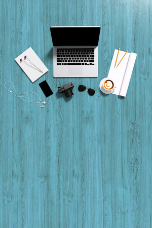 3d : illustration of top view of laptop on wooden table background and accessories of teenage. sunglasses. a cup of coffee. camera and smartphone. rolled paper copyspace for adding your text