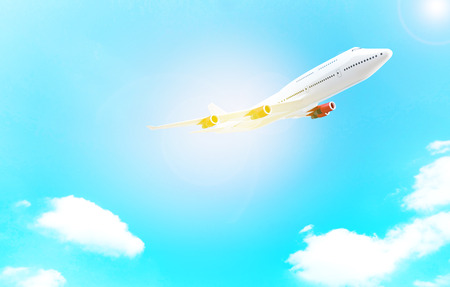 Commercial airplane flying above blue sky and clouds. close up airplane taking off. filtered image