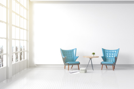 3d rendering : illustration of Modern vintage interior living room. Blue leather ancient sofa against white concrete wall with white tile wooden floor. city view and light shining from outside