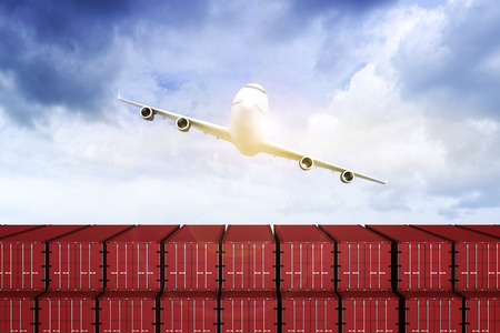 3D rendering : illustration of Wide view of Container terminal with blue sky and Commercial airplane flying above blue sky and clouds. Warehouse & shipping. logistic concept. filtered image Stockfoto
