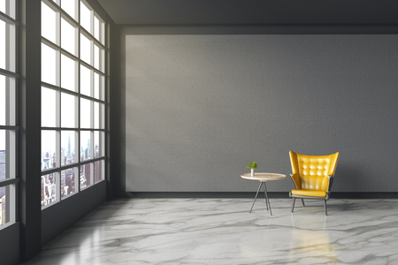 3d rendering : illustration of Modern vintage interior living room. yellow leather ancient sofa against black brick wall with white marble texture floor. city view and light shining from outside
