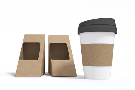 3D rendering : illustration of two brown Cardboard Triangle Box Packaging For Sandwich and take away hot coffee cup. Isolated On White Background.