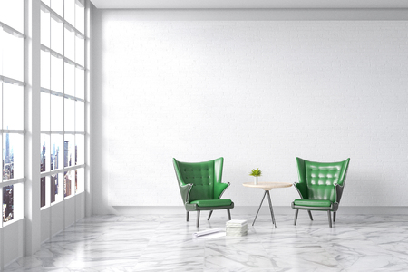 3d rendering : illustration of Modern vintage interior living room. green leather ancient sofa against white brick wall with white marble texture floor. city view and light shining from outside
