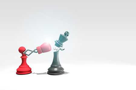 canny: 3D rendering : illustration of pawn chess knocking out a king chess. Pawn punching and destroying the king with boxing glove on chess board. knock with secret weapon business concept. clipping path