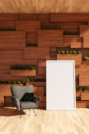 3D rendering : illustration of arm chair or sofa against wooden wall with plant. modern interior design. wooden blocks wall and vertical garden. white picture frame and clipping path included
