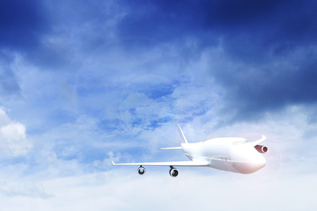 Commercial airplane flying above blue sky and clouds.  close up airplane taking off. traveling tour with airline concept. commercial plane or logistic concept. filtered image