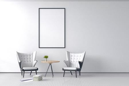 3d rendering : illustration of Modern vintage interior living room. white leather sofa against picture frame hanging on white brick wall with wooden floor. soft light shining from outside. clipping path