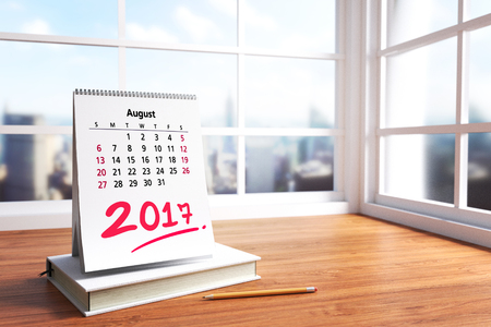 3D Rendering : illustration of modern interior Creative designer office desktop with white calendar. close up AUGUST calendar on wooden desk working place. light from outside. city view Stockfoto
