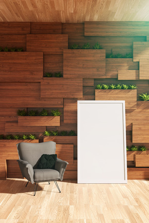 garden path: 3D rendering : illustration of arm chair or sofa against wooden wall with plant. modern interior design. wooden blocks wall and vertical garden. white picture frame and clipping path included