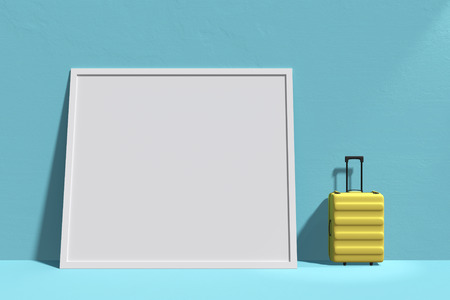 3D Rendering : illustration of traveler gadget equipment Suitcase against of pastel color floor and wall background. spotlight shining to luggage. frame copyspace for added your text. clipping path Stockfoto