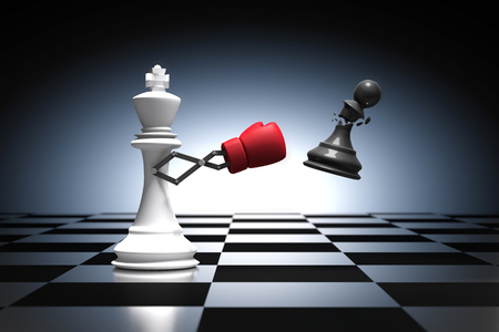 canny: 3D rendering : illustration of king chess knocking out a pawn chess. King punching and destroying the pawn with red boxing glove on chess board. Secret weapon business concept.