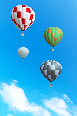 floating: 3d rendering : illustration of colorful hot air balloon floating above the sky in sunny day. vacation time concept. abstract peaceful background.