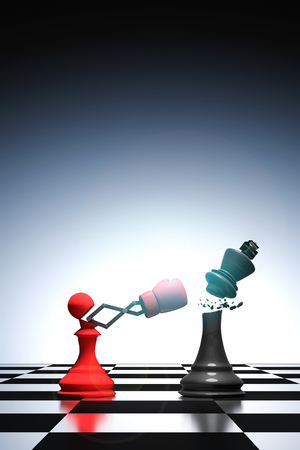 canny: 3D rendering : illustration of pawn chess knocking out a king chess. Pawn punching and destroying the king with red boxing glove on chess board. knock with secret weapon business concept.