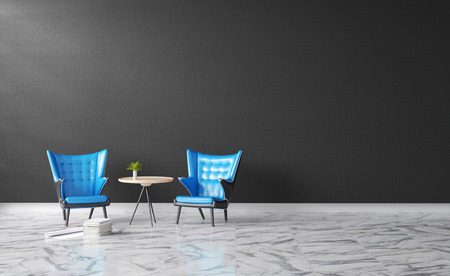 3d rendering : illustration of Modern vintage interior living room. blue leather ancient sofa against black concrete brick wall with white marble texture floor.soft color and light shining from outside Imagens