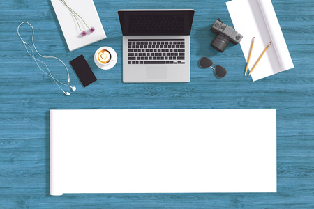 3d: illustratie van bovenaanzicht van laptop op pastel kleur achtergrond en accessoires van tieners. zonnebril. een kopje koffie. camera en smartphone. opgerold papier copyspace voor het toevoegen van uw tekst