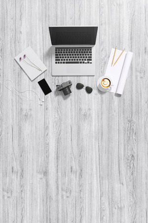 hand touch: 3d : illustration of top view of laptop on wooden table background and accessories of teenage. sunglasses. a cup of coffee. camera and smartphone. rolled paper copyspace for adding your text