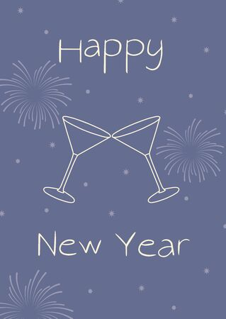 Happy new year retro style illustration. Fireworks, glass and stars on blue background. Party time vector template.
