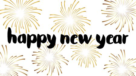 Hand drawn brush pen lettering. Happy new year in lower case letters and golden firework. Design for holiday greeting cards, invitations and backgrounds. Perfect for seasonal holidays. Vector. Ilustracja