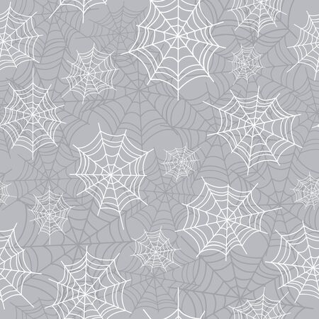 Cobweb, spiderweb halloween seamless pattern. Creepy background repeat pattern for october holidays. Vector illustration.