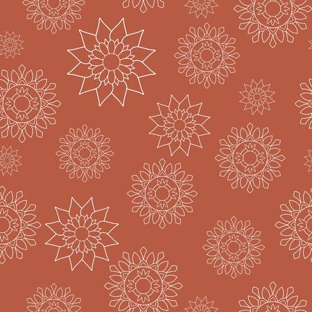 Seamless repeat pattern, eastern style. White floral mandalas on orange background. Oriental decorative motifs perfect for printing on fabric or paper. Vector illustration.