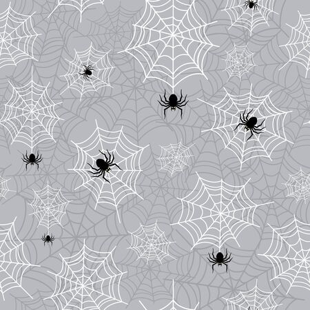 Hanging spider and cobweb halloween seamless pattern. Creepy background repeat pattern for october holidays. Çizim